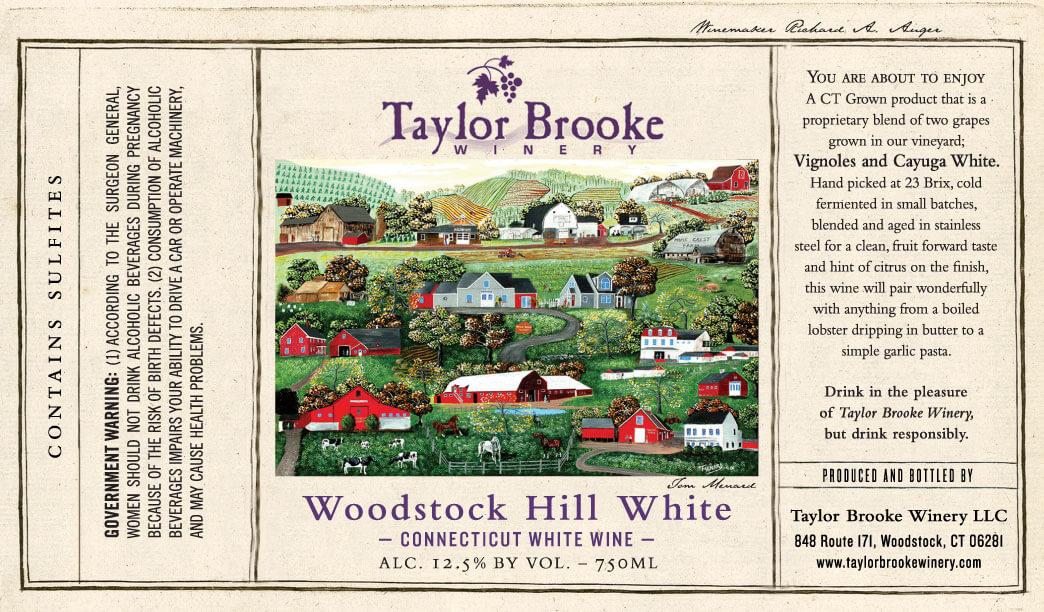 woodstock hill white wine label
